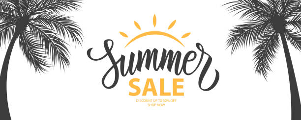Summer Sale promotional background. Summertime seasonal special offer banner with hand lettering and palm trees for business, seasonal shopping, promotion and advertising. vector art illustration