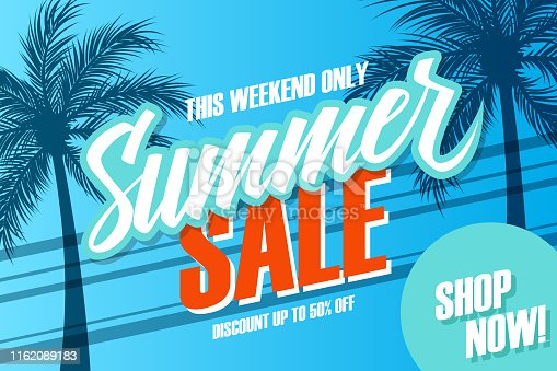 Summer Sale promotional banner. Summertime season special offer background with hand lettering and palm trees for business, discount shopping, promotion and advertising. Shop now. Vector illustration.