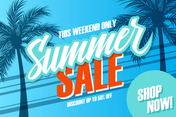 Summer Sale promotional banner. Summertime season special offer background with hand lettering and palm trees for business, discount shopping, promotion and advertising. Shop now. vector art illustration