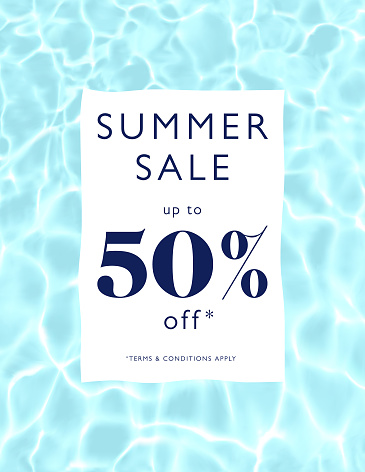 Summer Sale Realistic Water Surface Background with Ripples and Reflections