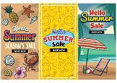 vector of summer sale retro flyer set