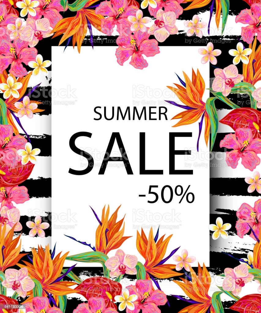 summer sale sign background with tropical flowers stock vector art