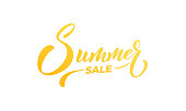 Summer Sale. Summer lettering calligraphy overlay design. Summer sale, discount label