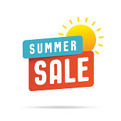 Summer Sale Tag Banner vector heading design style for banner or poster. Sale and Discounts Concept.