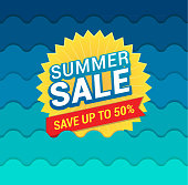 Vector illustration of the summer sale tag on the waves background.