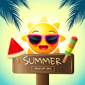 summer , sale , template design, vector illustration, hot, sunny.