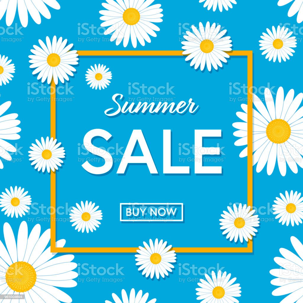 Summer Sale Template Poster Or Banner With Daisy Flowers Vector