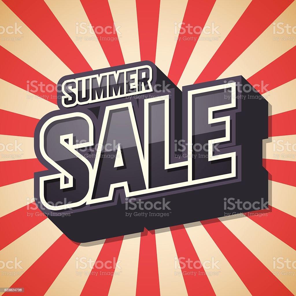 Summer sale, Text design, Poster of the season, Vector illustrat vector art illustration