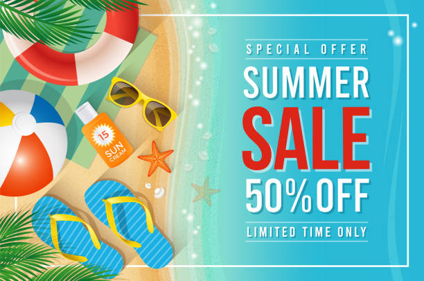 summer sale text with beach summer accessories - summer background stock illustrations