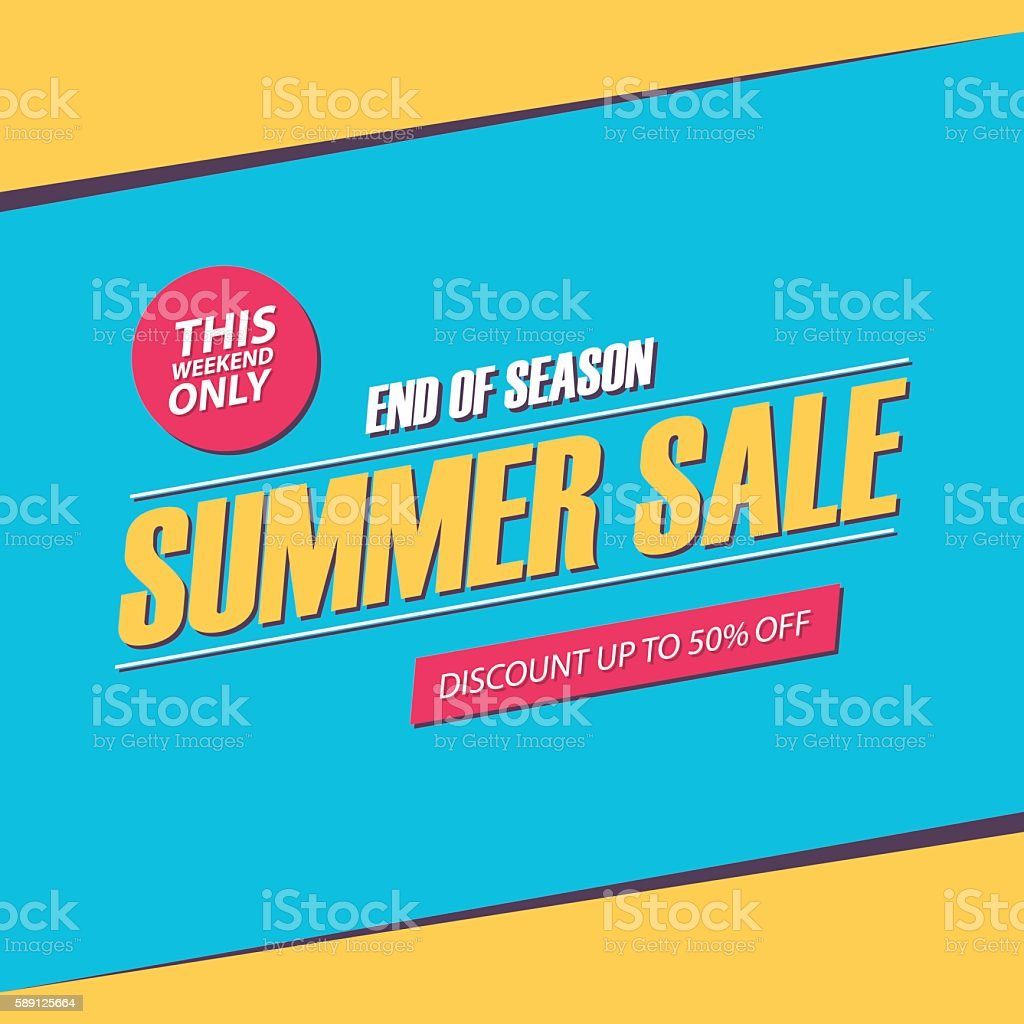 Summer Sale. This weekend special offer banner. End of season. vector art illustration