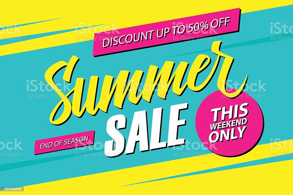 Summer Sale. This weekend special offer banner. vector art illustration