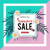Summer sale trendy banner template with frame and floral decoration