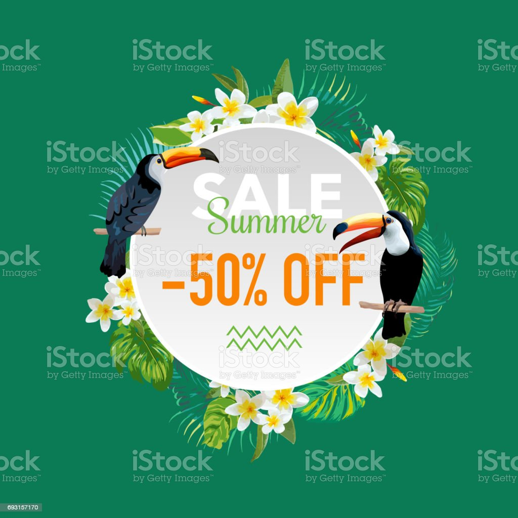 Summer Sale Tropical Flowers And Exotic Birds Banner For Discount