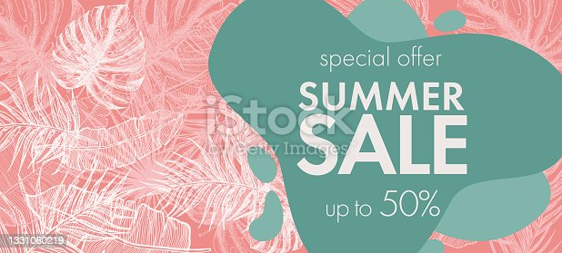 istock Summer Sale. Tropical leaves pattern. Hand drawn illustration. 1331060219
