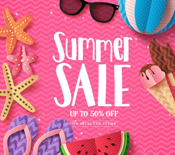 summer sale vector background template with paper cut beach elements and sale text in pink pattern background - summer background stock illustrations