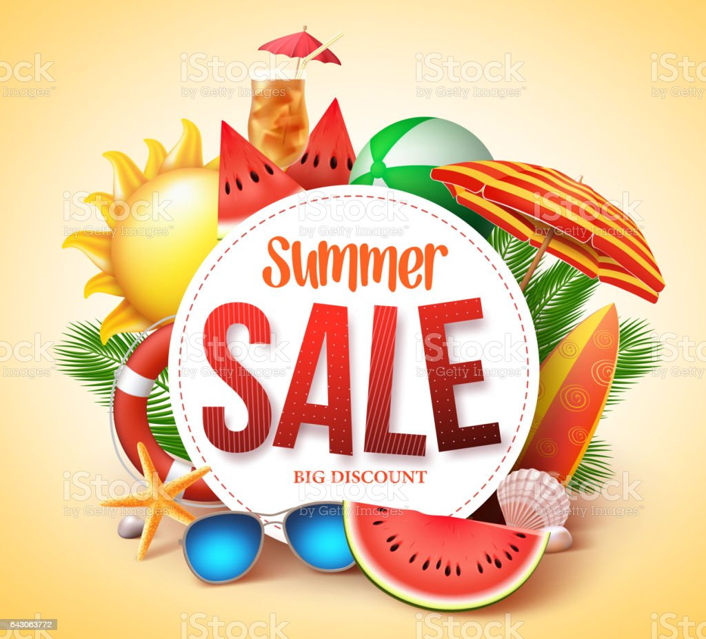 Summer sale vector banner design for promotion vector art illustration