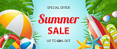 Summer sale vector banner design with colorful beach elements. Vector illustration. Vector illustration. Can be used for banner, flyer, greeting card, advertising, poster.