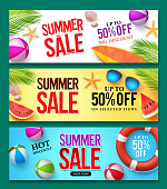 Summer sale vector banner set with 50% off discount text and summer elements in colorful backgrounds for web shopping promotions. Vector illustration.