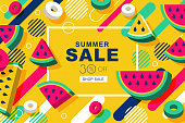 Summer sale vector banners with flat 3d style watermelon slices and motion geometric shapes. Layout for discount labels, flyers and shopping. Yellow geometric background.