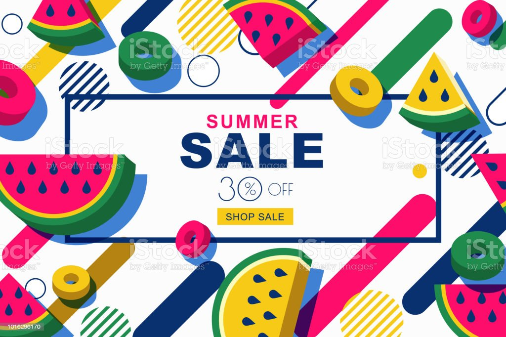 Summer Sale Vector Banners With 3d Watermelon Slices And