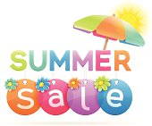 Summer sale concept isolated on white. EPS 10 file. Transparency used on highlight elements.