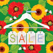 Summer Sale. Clothes hanger with tags on floral background. Vector. EPS 8. Design elements.