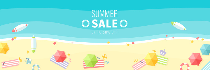 Summer sale vector illustration, cartoon flat sunny hot beach background in summertime, promo web banner, voucher offer for hot special discount promotion