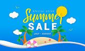Summer sale vector illustration. lovely island paper art style.