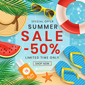 Summer Sale vector illustration with 50% off discount text. Summer beach elements.