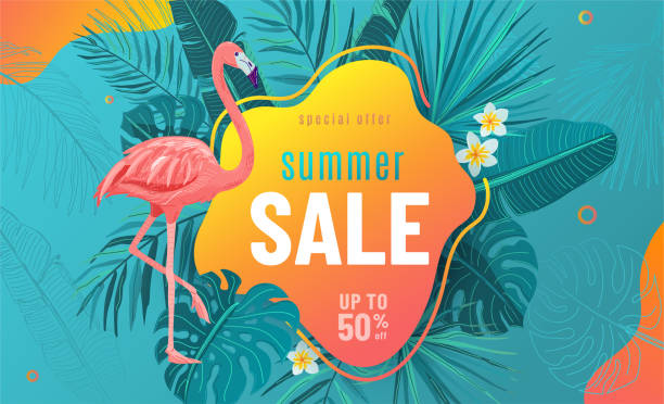 Summer sale vector poster background with bright geometric elements, tropical leaves, flamingo, frangipani flowers. Special offer flyer illustration. Tropic graphic design on blue backdrop Summer sale vector poster background with bright geometric elements, tropical leaves, flamingo, frangipani flowers. Special offer flyer illustration. Tropic graphic design on blue backdrop. water bird stock illustrations
