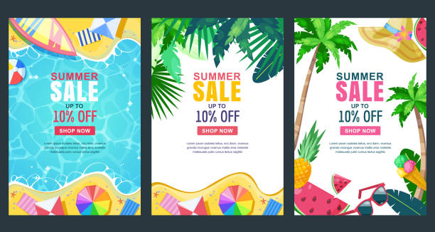 Summer sale vector poster, banner template. Season backgrounds. Tropical frame with sand beach, water, leaves and fruits Summer sale vector poster, banner template. Season backgrounds set. Tropical frame with sand beach, water, leaves and fruits. beach borders stock illustrations