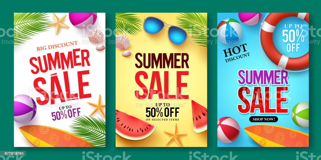 Summer sale vector poster set with 50% off discount text vector art illustration