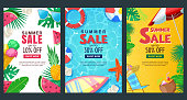Summer sale vertical banner set. Vector season poster template. Tropical backgrounds with sand beach, water, leaves and fruits.