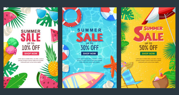 Summer sale vertical banner set. Vector season poster template. Tropical backgrounds. Summer sale vertical banner set. Vector season poster template. Tropical backgrounds with sand beach, water, leaves and fruits. summer stock illustrations