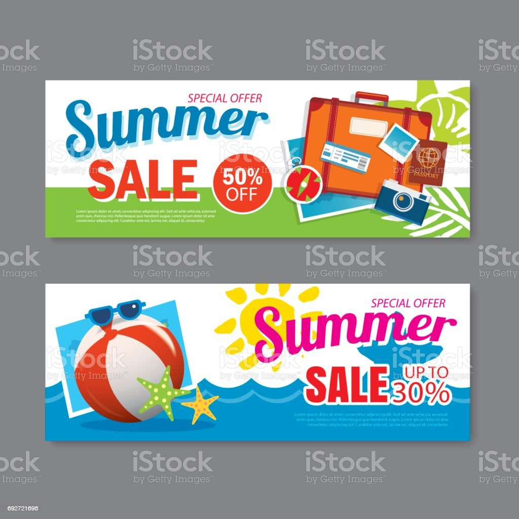 Summer Sale Voucher Background Template Discount Coupon Banner ...