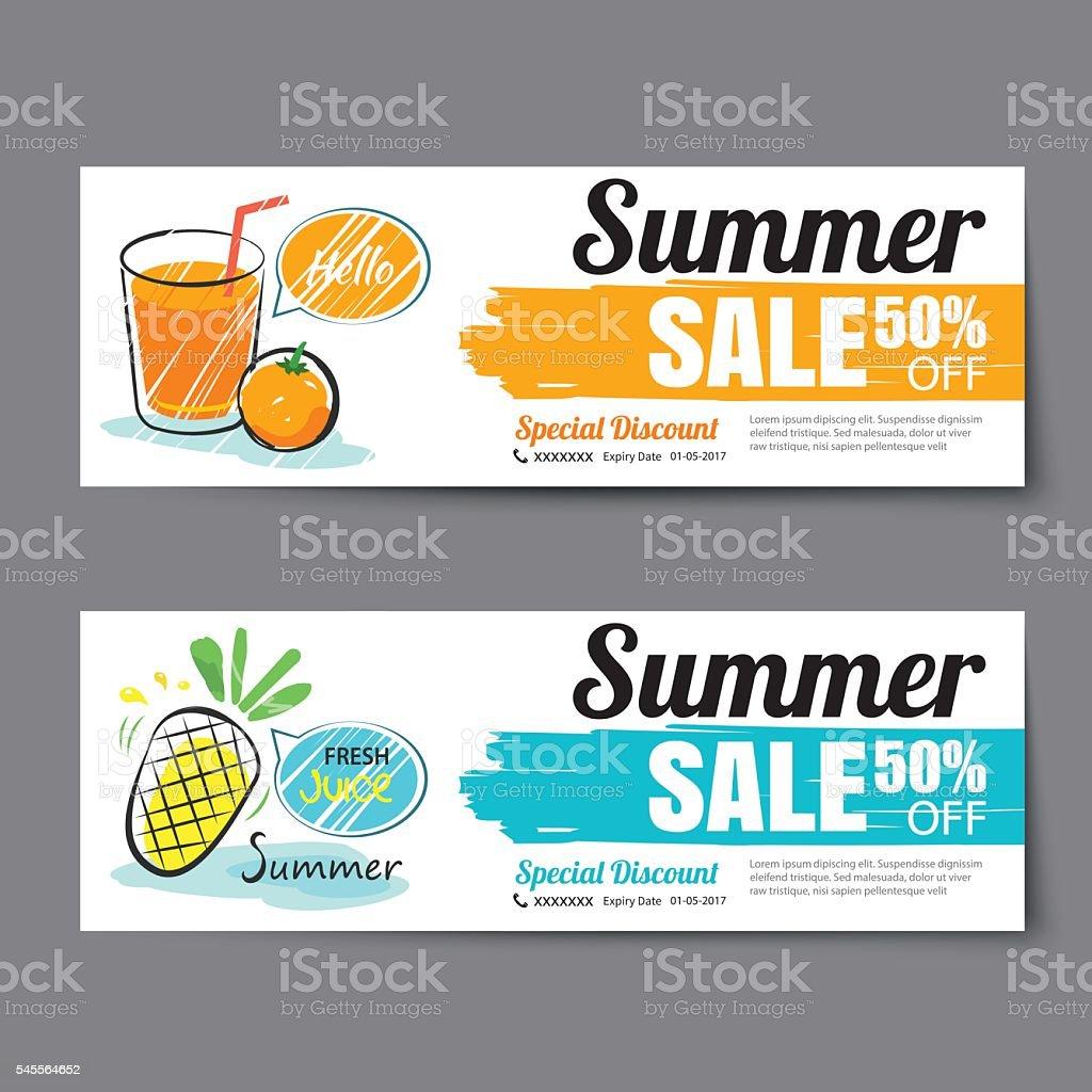 Summer Sale Voucher Templatediscount Coupon Banner Hand Drawn Stock ...