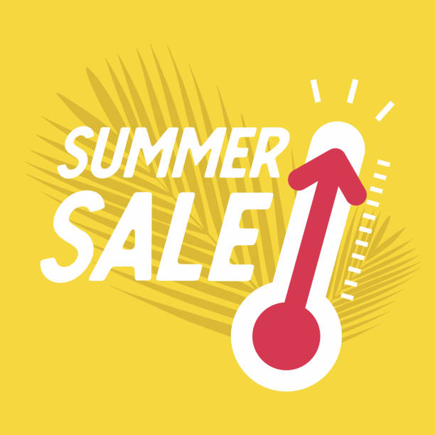 summer sale with thermometer, special offer, summer discount banner - summer background stock illustrations