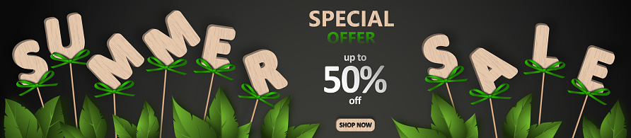 Summer sale. Wooden letters on sticks with green bows. Discount banner template