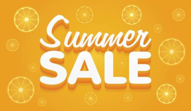 ilustraciones, imágenes clip art, dibujos animados e iconos de stock de bandera amarilla y naranja de verano venta vector ilustración - gran inauguración