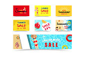 Summer sales banner, tag discount, woman shopping collection, traveling promotion seasonal holiday vacation background texture vector