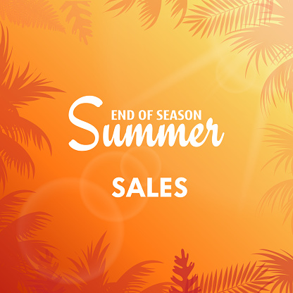Summer sales greeting card with palm tree leaves. Vector