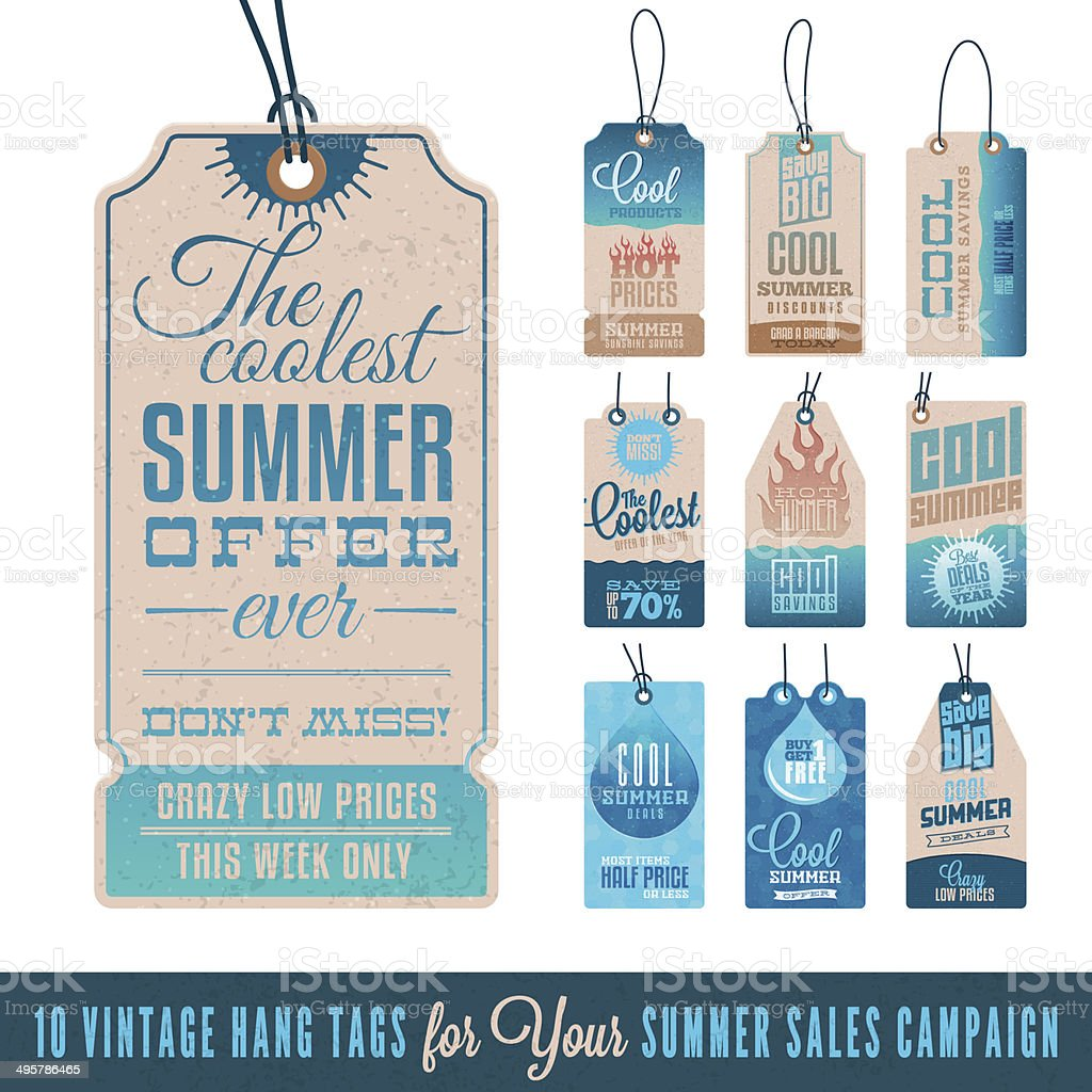 Summer Sales Hang Tags vector art illustration