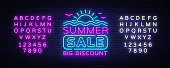 Summer Sales Neon Banner Vector. Bright Neon Advertising of Summer Discounts, Design Template, Light Banner, Bright Advertising Brochure. Vector illustration. Editing text neon sign.