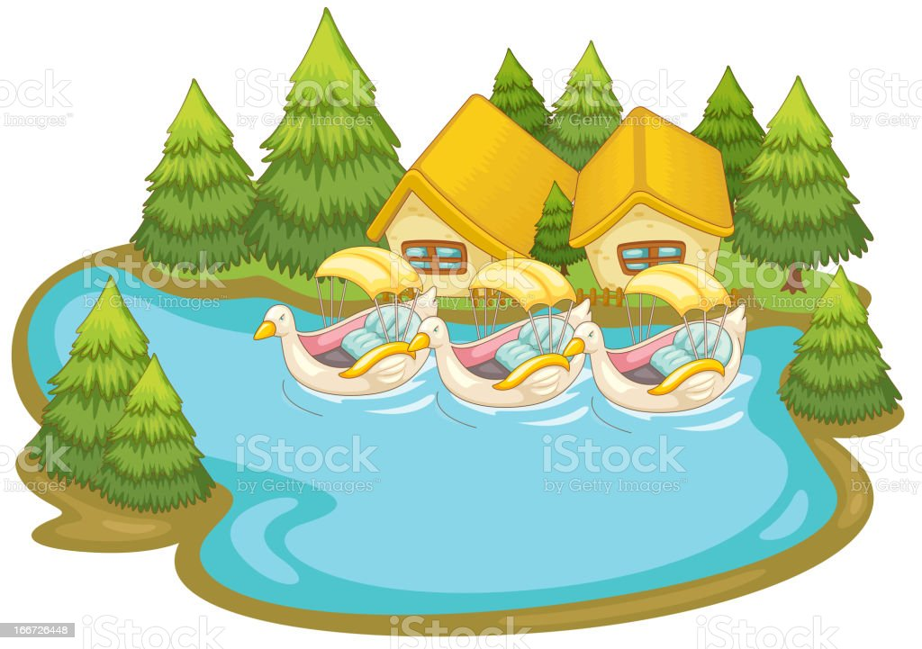 Summer scene by the lake royalty-free stock vector art