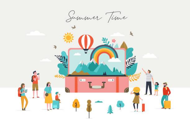ilustrações, clipart, desenhos animados e ícones de cena do verão, grupo de pessoas, família e amigos que têm o divertimento de encontro à mala de viagem aberta enorme com cena do curso, montanhas, natureza, arco-íris e balão de ar - viagens e férias da família