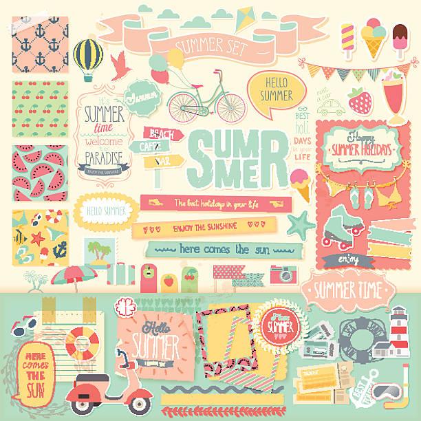 Summer scrapbook set - decorative elements. Summer scrapbook set - decorative elements. Vector illustration. scrapbook stock illustrations