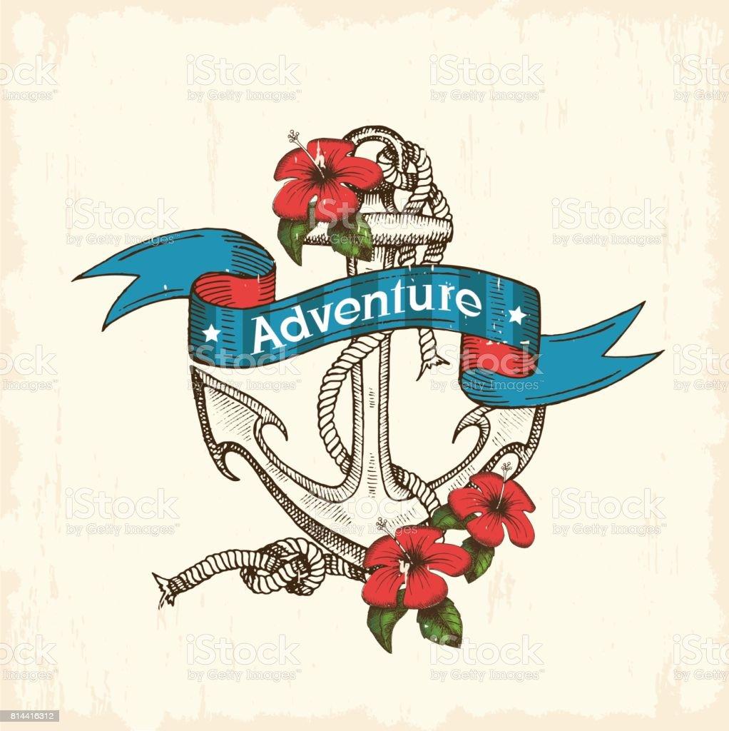 Summer sea adventure. Vintage hand drawn anchor vector art illustration