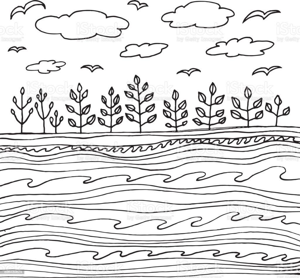 Yaz Deniz Ve Bulutlar Ve Gokyuzu Sayfa Ya Da Kitap Yetiskin Ve