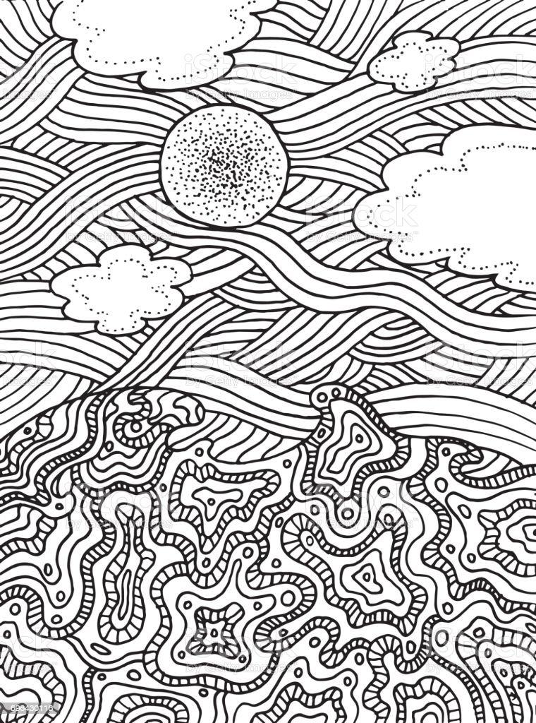 Ilustración de Verano Mar Y Cielo Con Nubes Y Sol Vector Mano ...