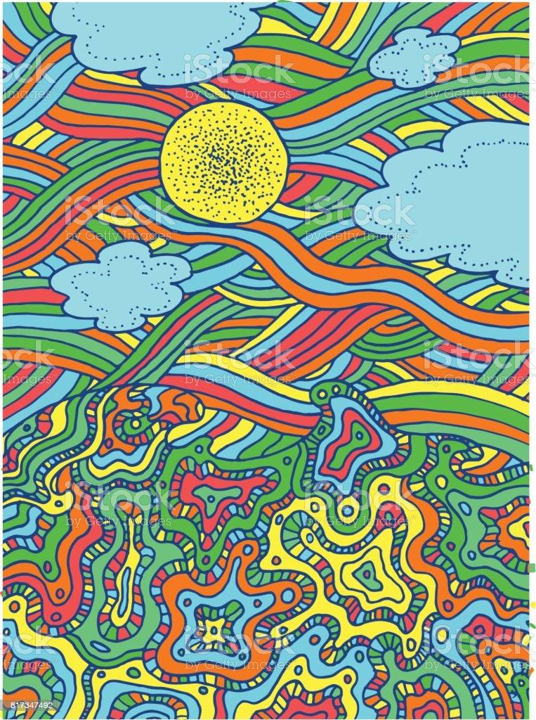 Verano Mar Y Cielo Con Nubes Y Sol Vector Mano Dibujada Línea Arte ...